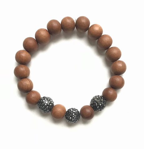 8mm Sandalwood and Round Gunmetal Ball Bracelet