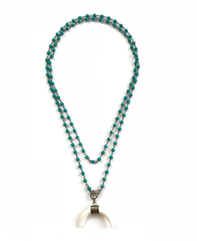 Green Turquoise and Crescent Moon Pendant Necklace