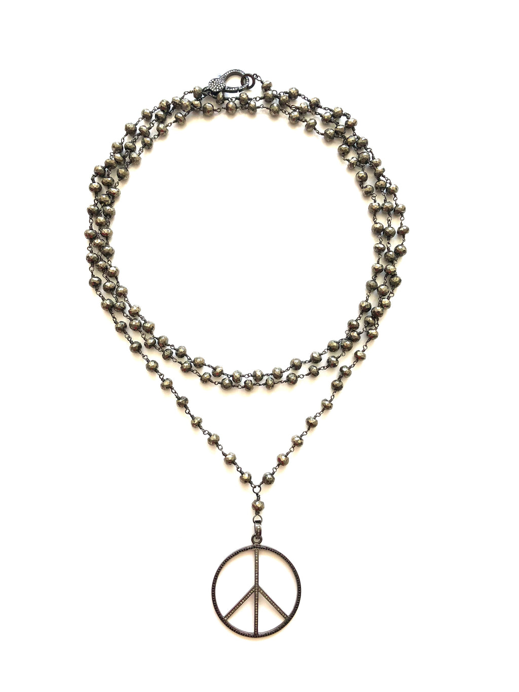 PEACE and Pyrite Necklace