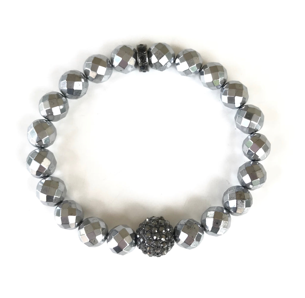 Silver Pyrite 8mm Beads and Pave Round Ball Bracelet
