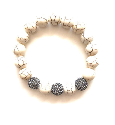 White Turquoise and Pave Ball Bracelet