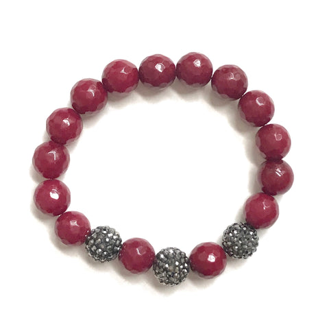 Ruby Red Jade and Gunmetal Pave Ball Bracelet