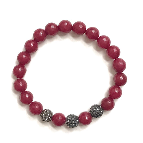 Ruby Red Jade and Gunmetal Pave Balls