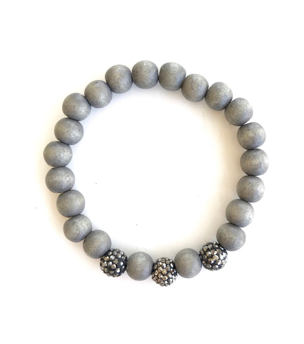 Dove Grey Wood and Pave Balls