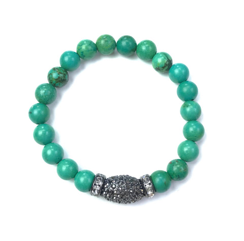 Green Turquoise & Gunmetal Oval Pave Ball