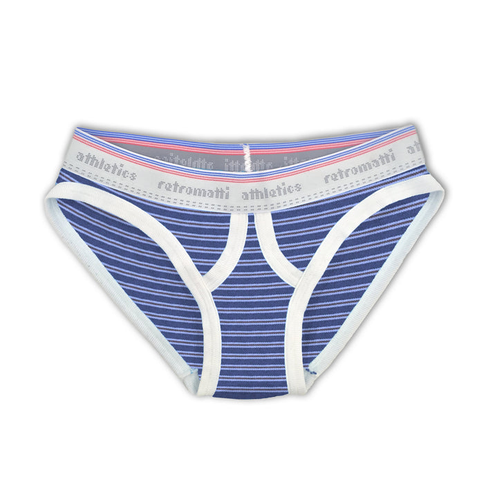 Ultra Low Rise Retro Briefs in Blue & Brown Stripes