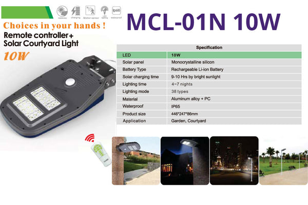 MCL-01N 10W Remote Controlled Solar Courtyard Light