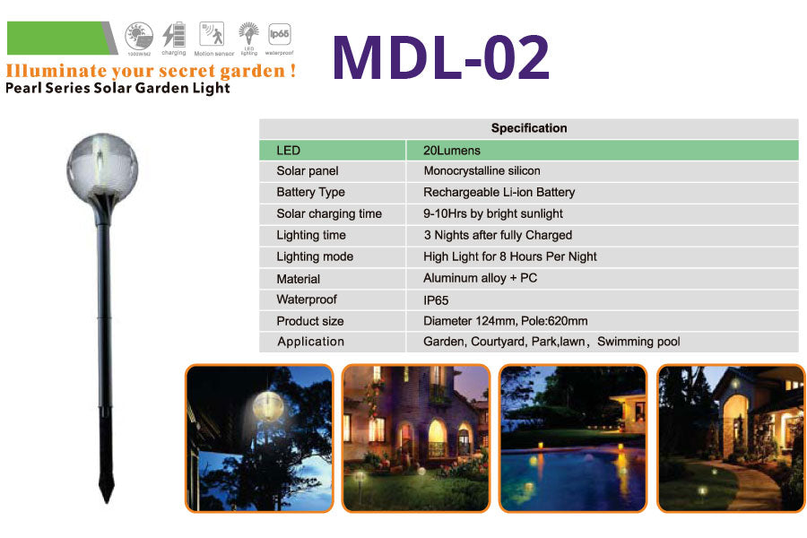 MCL-02 Pearl Series Solar Garden Lights