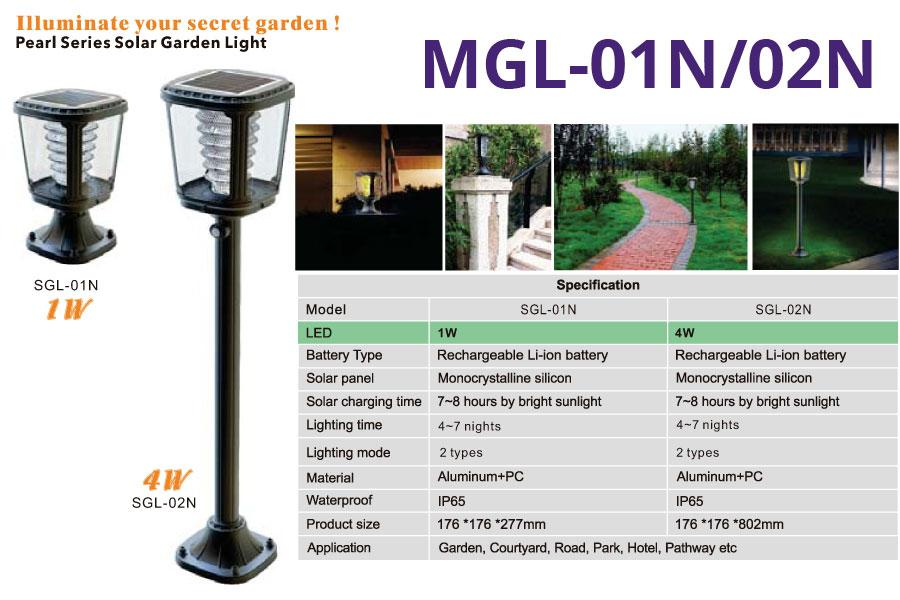 MGL-01N/02N Pearl Series Solar Garden Lights