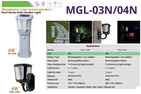 MGL-03N/04N Pearl Series Solar Garden Lights