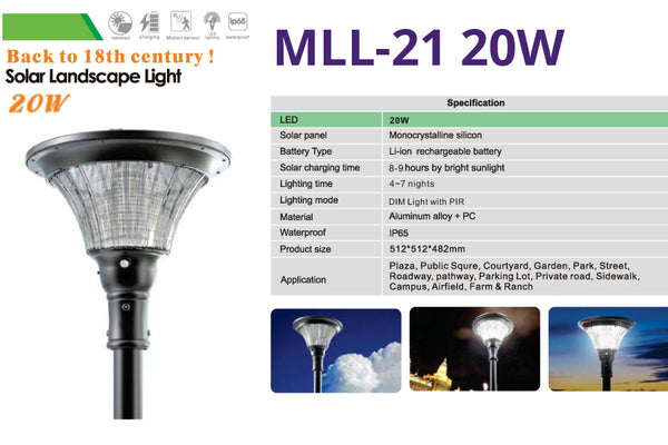 MLL-21 20W Solar Landscape Light