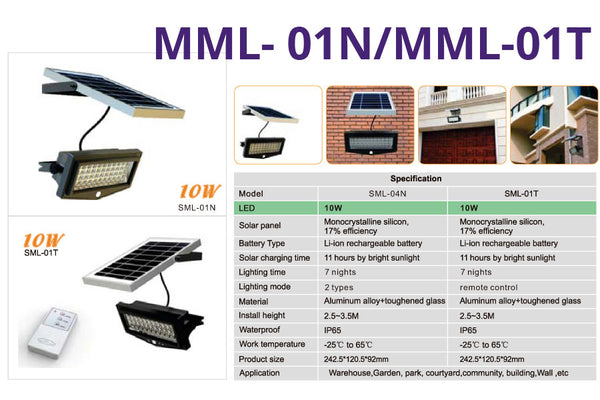 MML-01N/MML-01T Remote Control Solar PIR Security Light