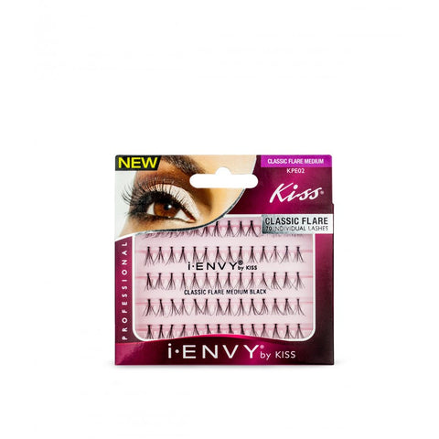 Kiss iEnvy Classic Flare Individual Lashes - Medium Black