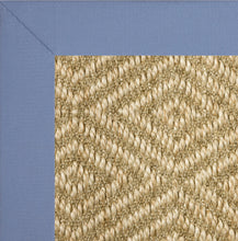 Medium blue wide cotton binding sisal rug