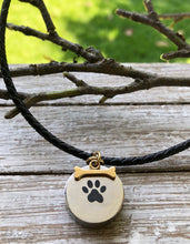 "Engravable Ashes Urn Pendant & Leather Necklace - ""Paw Print & Bone"""