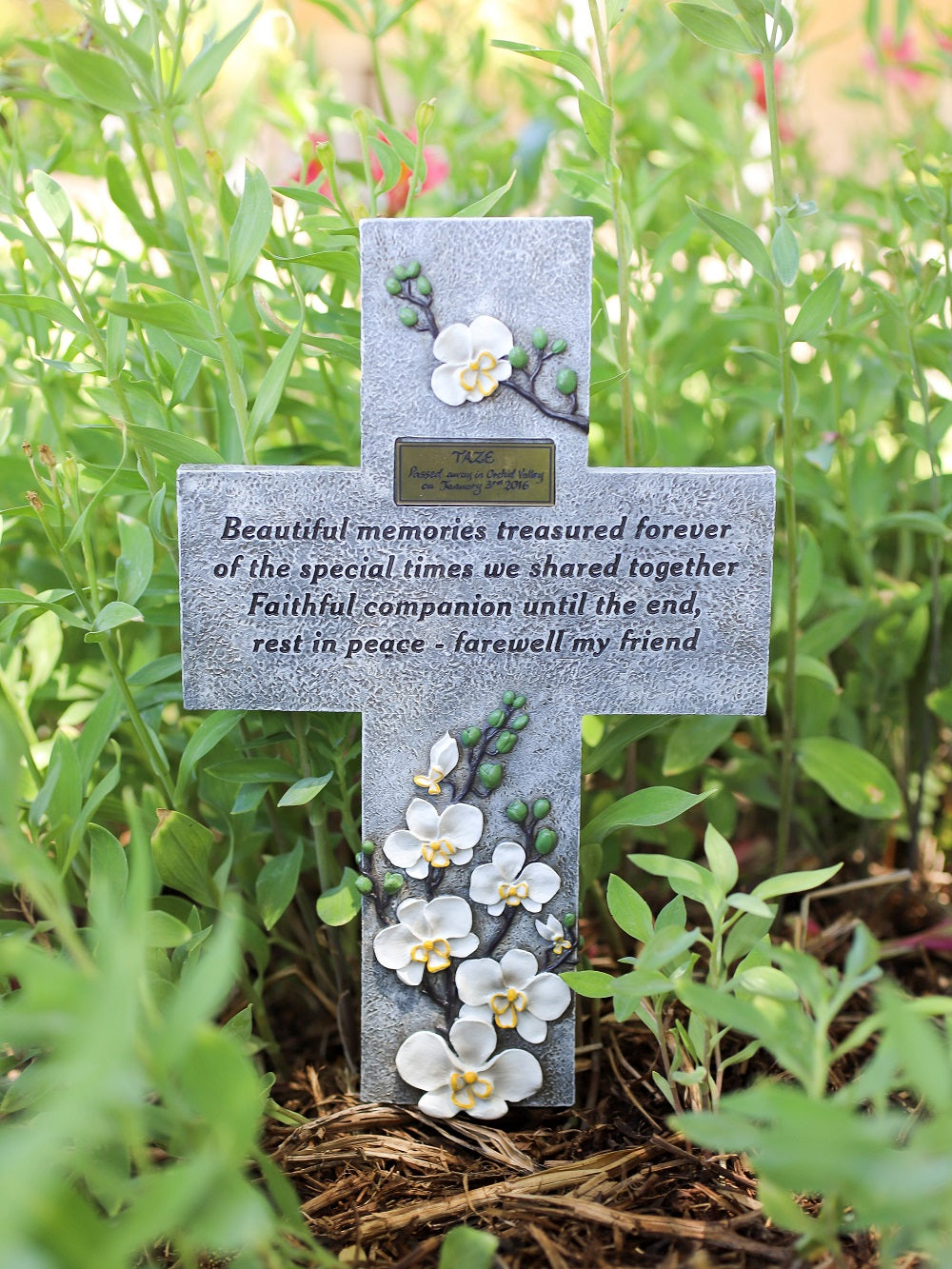 Pet Memorial Grave marker Cross with Plaque (WS)