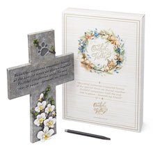 Pet Memorial Grave Marker Cross with Paw Prints
