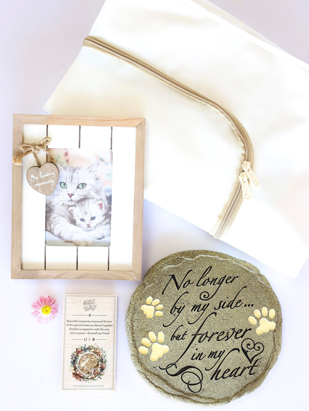 Pet Burial Bag with Round Grave Marker, Photo Frame & Seed Card