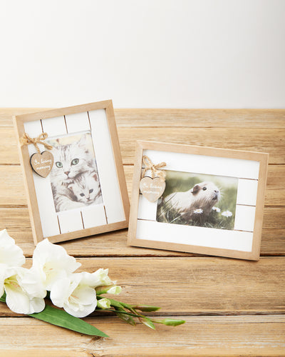 Rustic wooden pet memorial photo frame