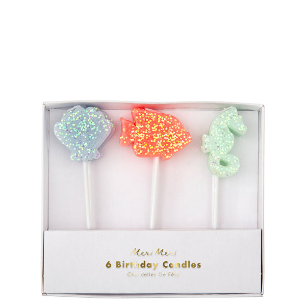 Sea Creature glitter candles includes blue seashell, coral colored fish and  mint green seahorse, all sea creatures are enhanced with sparkly glitter two of each for a set of six candles by Meri Meri