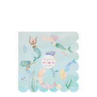 pack of sixteen paper party and lunch napkins with a beautifully illustrated swimming mermaids. made with eco friendly paper