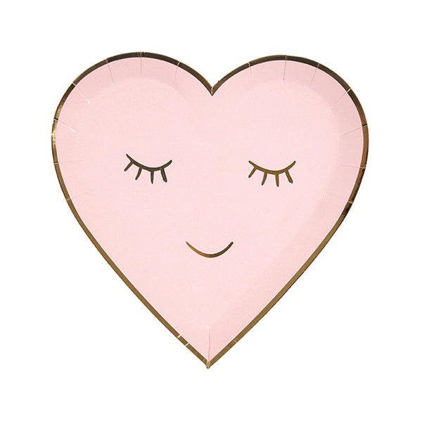 blushing heart shaped plate light pink with gold foil trim