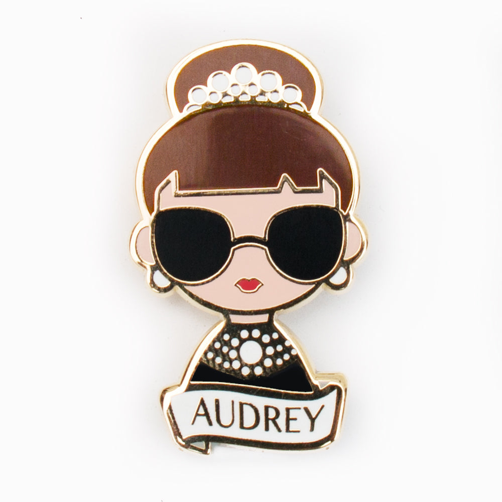 Audrey Hepburn enamel pin designed by artist Becky Kemp.Made of high quality gilt metal and hard enamel