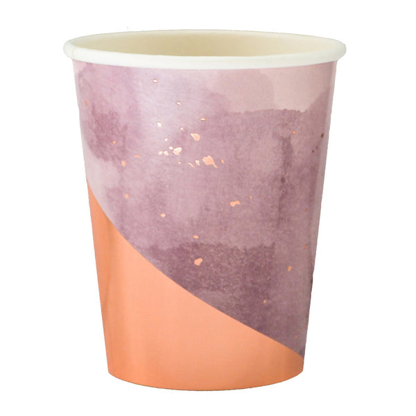 light pink paper party cup with a gradient purple watercolor print and vibrant rose gold foil highlights, for use with hot and cold beverages nine ounces in a package of eight cups
