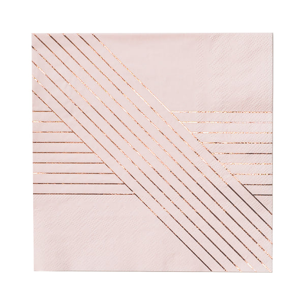 paper napkins in pale pink with rose gold linear pattern by premium party supply brand Harlow & Grey