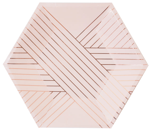 pale peach paper party plate with rose gold foil linear pattern plates for bridal and baby showers