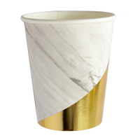white marble print with shades of grey and gold foil colorblock paper cups are perfect for luxe parties and events