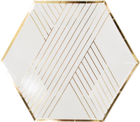 white plates with metallic gold stripes and trim on a hexagon shaped plate