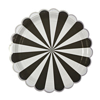 paper party plate with a black and white fan stripe print with a scalloped edge in silver metallic foil.