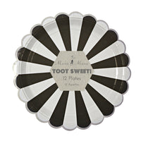 9 inch diameter black and white stripe paper party plates packaged  in a set of 12 plates by Meri Meri