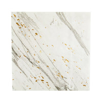 white marble print napkins will add a luxe look to your tabletop or buffet station. white with shades of grey veining and enhanced with specs of shiny gold foil deatils.