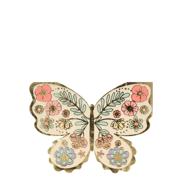 Beautiful Boho inspired floral butterfly shaped napkins printed with highlights of shiny gold details and border