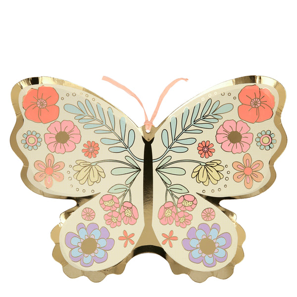 paper party plates die-cut into the shape of a butterfly with a beautiful boho inspired floral print.