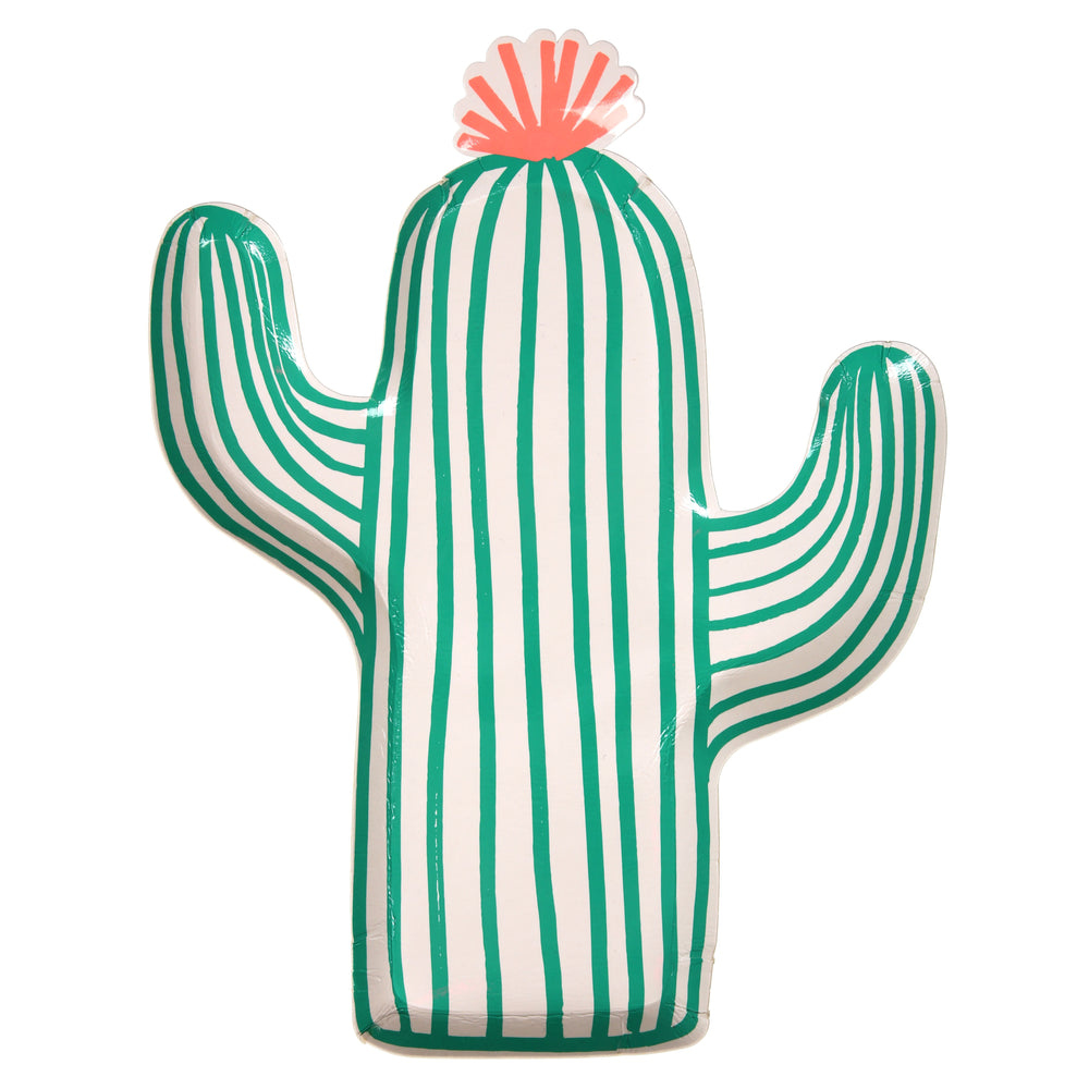 cactus shaped plates with bright green details and a bright neon orange top in a pack of twelve plates perfect for summer and cinco de mayo parties