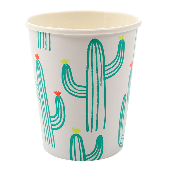 cactus print paper party cups, green, white, yellow, coral
