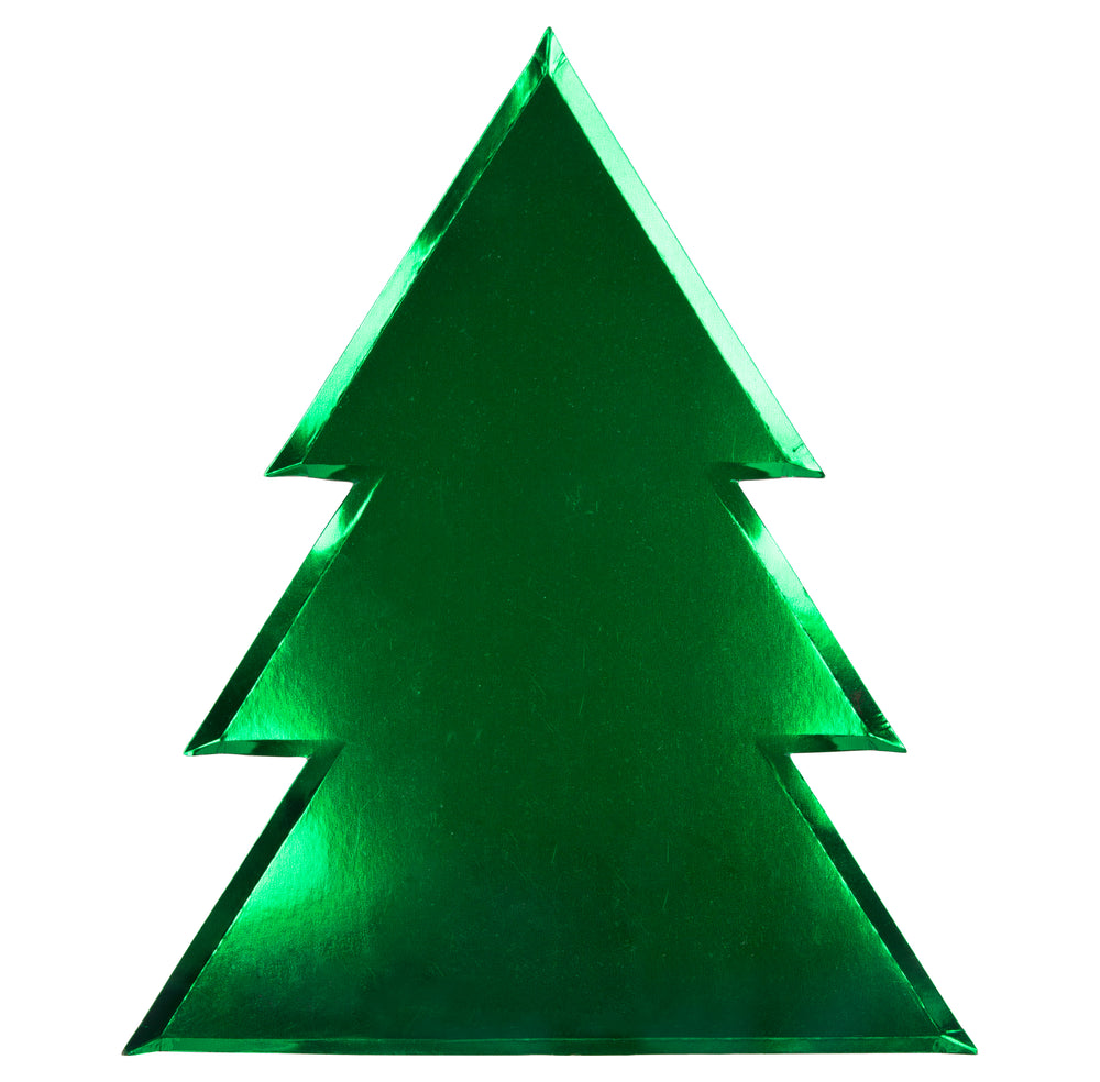 green metallic foil plates in the shape of a traditional Christmas tree packaged in a set of eight plates