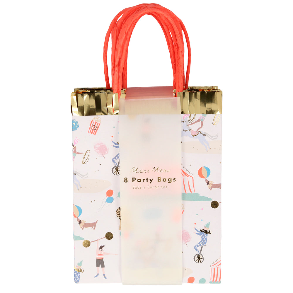 pack of eight paper party bags with a beautifully illustrated circus print theme including a big circus tent, jugglers, strongman, dog, performing pony, lion, popcorn and ticket to the circus