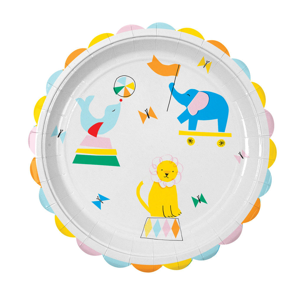 adorable circus themed plates featuring a seal, elephant and lion  circus performers illustrated in bright colors and a scalloped edge border on the nine inch diameter plate