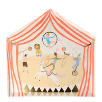 charming and colorful circus themed plates in the shape of a circus tent with a printed graphic including acrobatic performers, a strongman, juggler, stallion, lion and dog