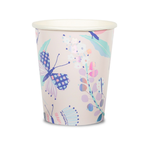 beautiful butterfly and floral print nine ounce paper cups featuring a pastel pallet including aqua, lavender, mint , pink , purple  and highlighted with silver holographic details.