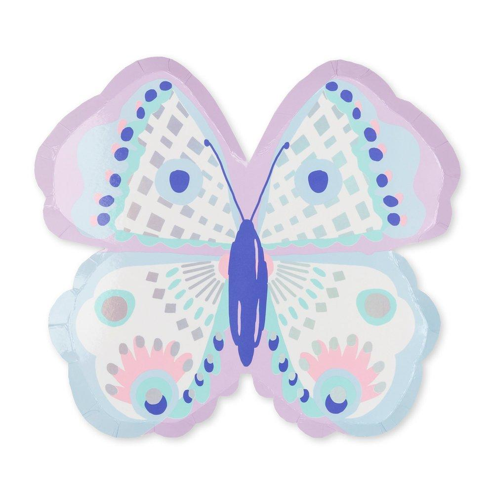 Flutter plate cut into the shape of a butterfly in a beautiful pastel color pallet including aqua, lavender , white, soft pink, purple and highlighted with silver holographic foil