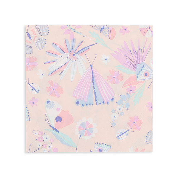 Beautiful butterfly print paper napkins in a pastel pallet of colors including pinks, lavender, periwinkle and purple in a pack of sixteen large napkins