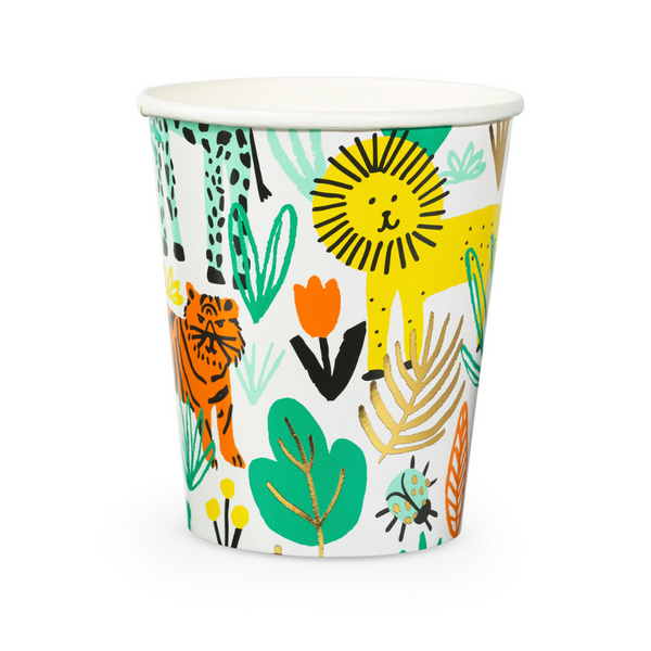 safari jungle print paper party cups featuring lion tiger zebra snake and jungle foliage highlighted with gold foil details