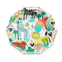 into the wild safari animal print in bright colors including giraffe, zebra, snake, lion and tiger small size plates