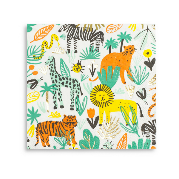 bright colored printed safari jungle paper party napkins large size includes giraffe lion tiger snake and gold foil details