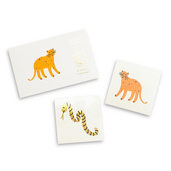 safari animal themed temporary tattoos includes one tiger and one shiny gold snake